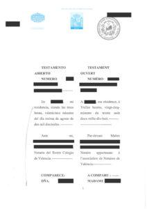 Testament en espagnol et français