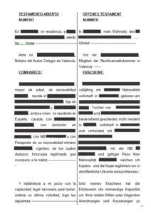 Testament en espagnol et allemand