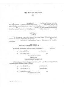 Certificat des dernières volontés et testament américain